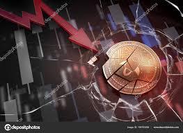 Stellar Stock Chart Shiny Golden Stellar Cryptocurrency Coin Broken On Negative