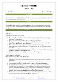 Job Resume Online Online Tutor Resume Samples Qwikresume