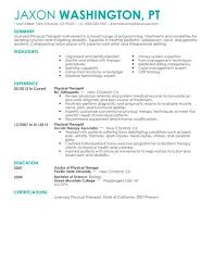 Physical therapist resume example