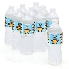 waterbottle labels blue monkey boy personalized party water bottle sticker labels