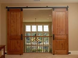 Solid wood sliding barn door design for modern house