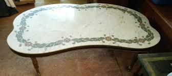 vintage inlaid marble top coffee table