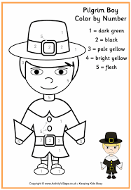 Small Picture Pilgrim Boy Colour by Number Thanksgiving Colouring Pages for Kids
