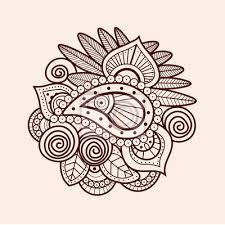Fototapeta Mehndi Tradiční Indiánský Etnický Symbol S Květinovými Prvky