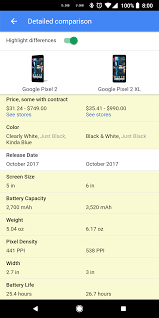 Nexus Phone Comparison Chart Google Search Can Now Compare Specifications Between Devices