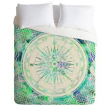 deny designs duvet cover set follow your own path mint by bianca green