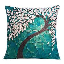 teal decorative pillows. Wonderful Pillows Anickal Happytimelol 18 X Square Teal Oil Painting White Flower Black  Tree Print Pattern Throw Throughout Decorative Pillows E
