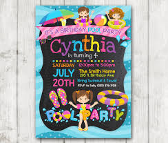 Printable Pool Party Birthday Invitations Girls Pool Party Invitation Pool Party Invite Summer Birthday Party Invite Bday Party Chalkboard