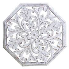 carved wood wall art white awesome gifts white octagonal wooden wall decor plaque
