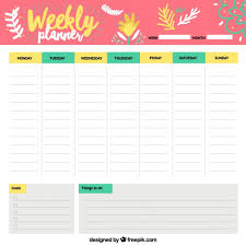 schedule weekly cheerful weekly schedule vector free download