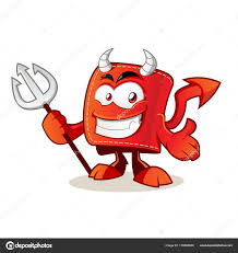 cute devil wallet cartoon character holding trident stock vector
