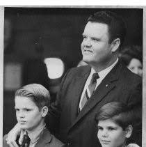 Newly elected Sheriff Duane Lowe with his son Rex (left) and another boy —  Calisphere
