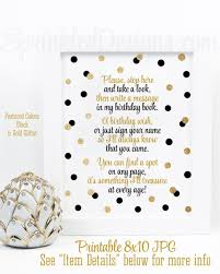 Guest Sign Book Birthday Guest Book Sign Sign My Guestbook Black White Gold