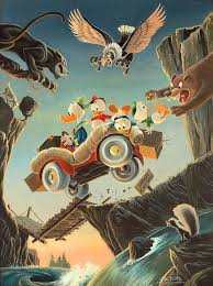 donald duck leaving their cares behind by carl barks