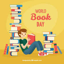 world book day background with reading man free vector