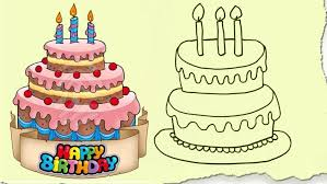 Birthday Cake Drawing And Coloring Cartoon Colour Video Autocad