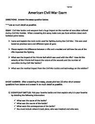 Essay On The Civil War Civil War Essay Exam United States History Civil War Tpt