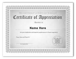 Formal Certificates Certificate Of Appreciation Template Word Condo Financials Com
