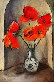 Tableau Peinture Dessin Bouquet Coquelicots Une Toile De
