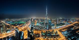Landscape Cityscape Dubai Skyscraper Night Lights Mist