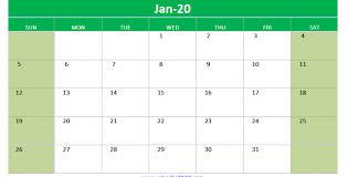 2020 Calendar Editable Editable January 2020 Calendar