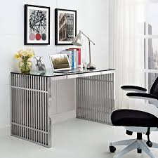 Image Cheap Glass Modway Gridiron Stainless Steel Office Desk In Stainless Steel Walmartcom Walmart Modway Gridiron Stainless Steel Office Desk In Stainless Steel
