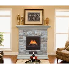 white stone fireplace surrounds which paired with stained hardwood mantel shelf as well as