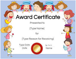 Kids Certificate Border Free Custom Certificates For Kids Customize Online Print