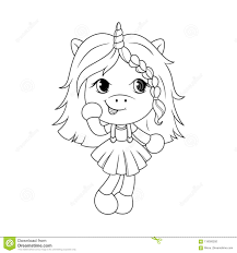 Cute Baby Unicorn Coloring Page For Girls Vector Stock Vector