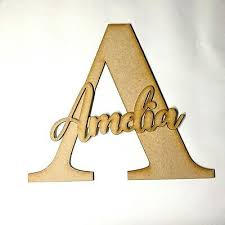 large wooden letters wall sign name