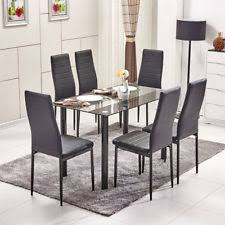 table 6 chairs. 7 pieces dining table black glass and 6 chairs faux leather dinning set table chairs