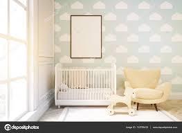 Close Up Van Een Kinderkamer Met Cloud Behang Op De Muur Van Het