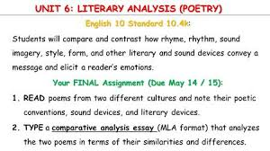 take out a sheet of paper first and last date period unit 6 literary analysis poetry english 10 standard 10 4k english 10 standard