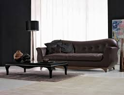 Dining Room Settees Furniture Beige Leather Sectional Sofa With Back Rest And Ottoman