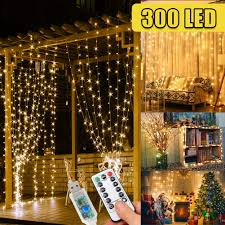 Waterfall Fairy Lights Uk 300 Led Fairy Lights Curtains Lights Gazebo Lights 3m 8 Modes String Lights Bedroom Hanging Wall Waterfall Lights For Indoor Outdoor Christmas