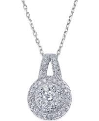 macy39s diamond circle pendant necklace in 14k white gold