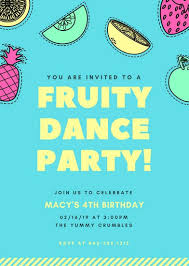 Colorful Fruits Kids Party Invitation Portrait Templates By Canva