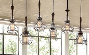 edison pendant lighting. Decorative Pendant Lighting Vintage Industrial Style Lights Edison Bulb With Wooden Wire Cage Light N