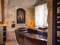 copper soaking tub with dark patina