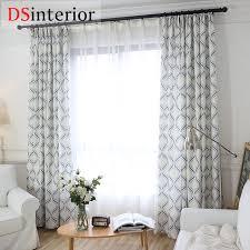 dsinterior modern geometric design cotton linen curtain for bedroom window custom made