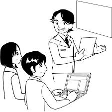 人物 会議をする人々ミーティングモノクロ 無料イラスト