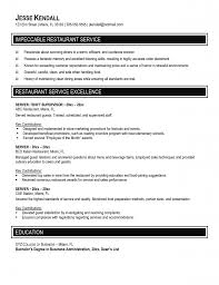 Restaurant Server Resume Templates Free Resume Example And