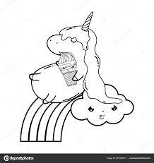 Unicorno Sveglio Con Nubi Arcobaleno Kawaii Disegno Illustrazione