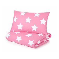 cotbed duvet set pink with white stars and pink gingham