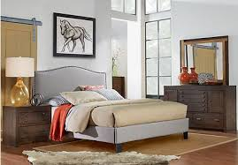transitional bedroom furniture. asher coffee 5 pc queen bedroom with silver upholstered bed transitional furniture d