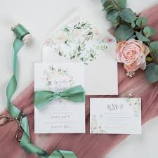 Spring Light Blush Floral Wedding Invitation With Belly Band And Blush Ribbon Swpi035 Stylishwedd