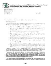 Letter From Employer Chairman The Western Conference Of Teamsters