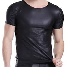 2019 2016 y men leather shirts exotic black faux leather t shirt mens tights club tops latex for man black tight from sheng2008