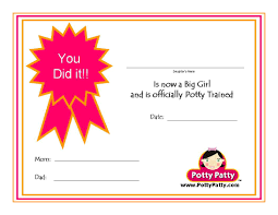 potty training resources potty training concepts potty patty potty training certificate i
