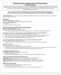 Resume Pediatric Nurse Sample Student Nurse Resume 8 Examples In Word Pdf